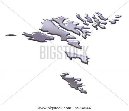 Faroe Islands 3D Silver Map