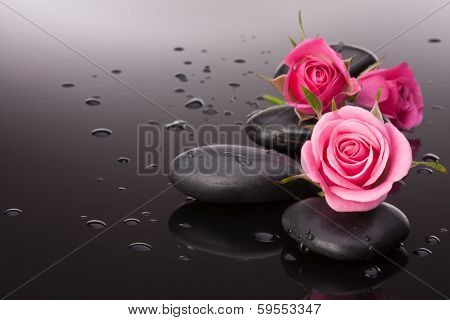 Spa stone and rose flowers still life. Healthcare concept.