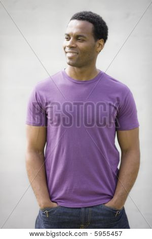 African American Male In Purple T-shirt