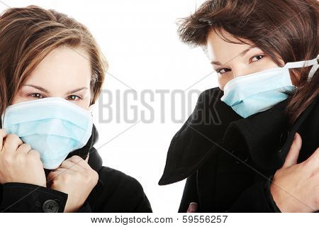 A glamorous models wearing a mask to prevent 'Swine Flu' infection.