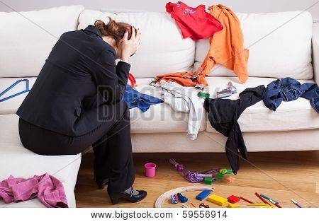 Unhappy Woman In Mess