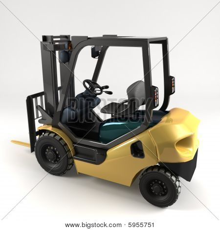 Industrial Forklift On Light Background