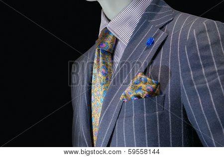 Mannequin In Purple Striped Suit, Yellow Silk Tie & Handkerchief