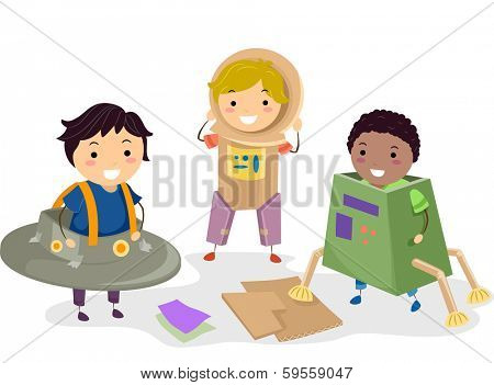 Illustration of Kids Wearing Makeshift Space Costumes
