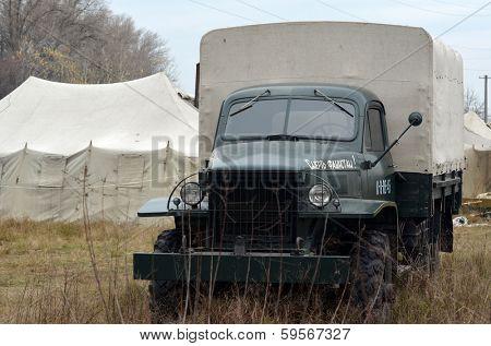 Kiev, Ukraine - November 1: Soviet  historical military transport is displayed on the Field of Battle military history festival on November 1 , 2013 in Kiev, Ukraine