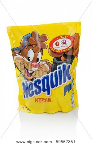 Sarajevo, Bosnia and Herzegovina - February 09, 2014: Nestle Nesquik Plus Instant Cocoa Drink. Nestle is a Swiss multinational food and beverage company.
