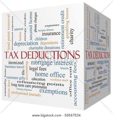 Tax Deductions 3D Cube Word Cloud Concept