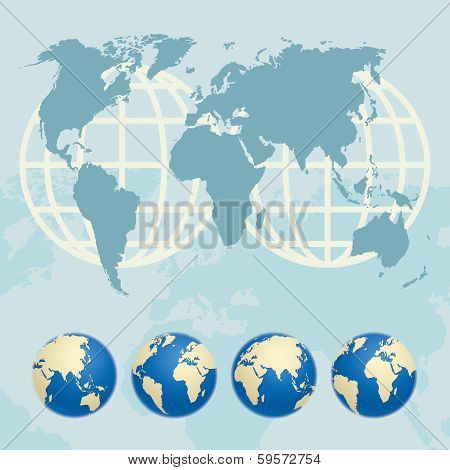 Map Of The World And Globes