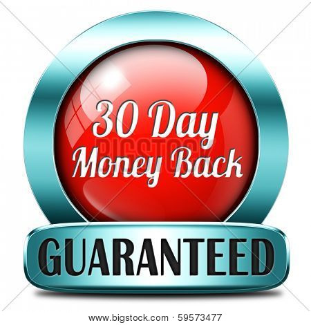 30 day money back button or icon 100% satisfaction customer service web shop warranty guaranteed on online internet order at webshop