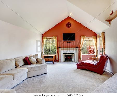 Bright Living Room With Contrast Orange Wall