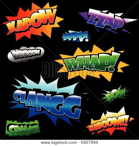 Vector illustration of several comic book sound texts poster