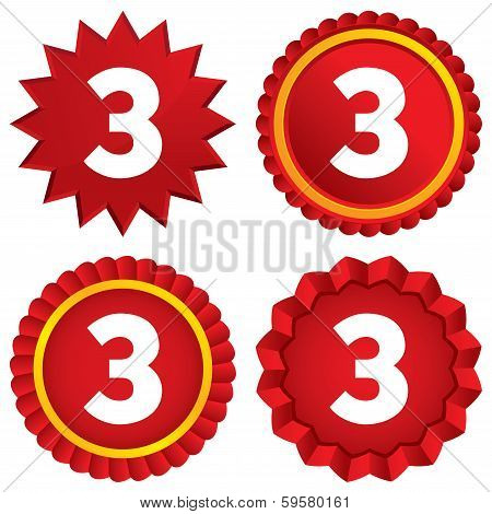 Third place award sign. Winner symbol. Step three. Red stars stickers. Certificate emblem labels. Vector poster