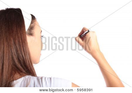 Attractive woman sketching