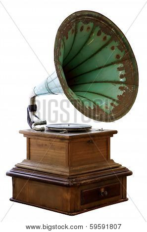 Old Gramophone Isolated On White Background