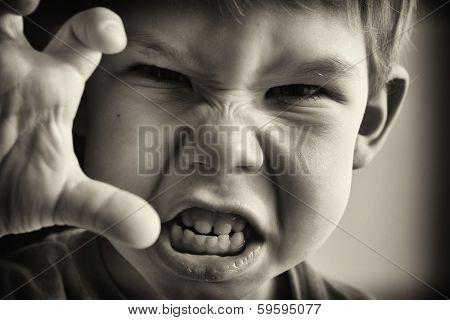 A little boy in anger