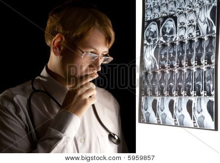 Worried Man Looking At the Mri