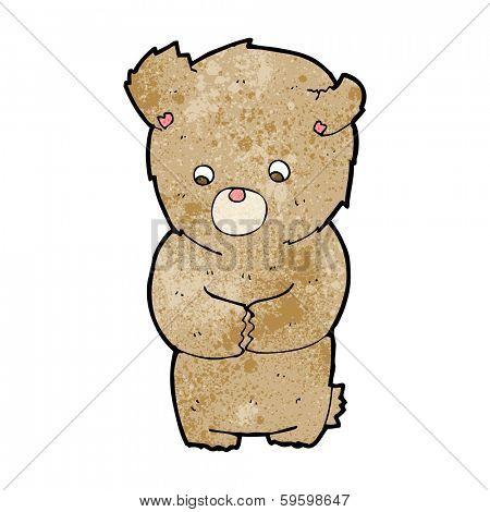cartoon shy teddy bear poster