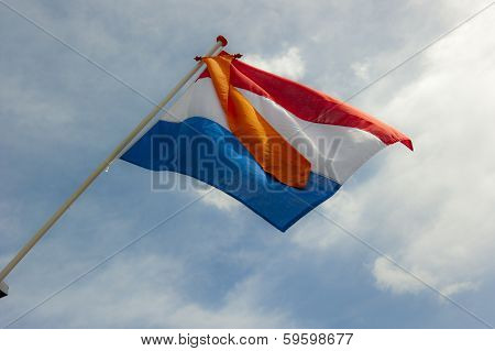 Duch Flag With Orange Ribbon