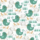 talking turquoise little birds on the grass on white background seamless pattern poster