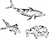 Dolphin fish and turtle in tribal style. Set of black and white vector illustrations. Tattoos. poster