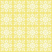 retro white flowers ans leaves square shaped elements in regular rows on sunny yellow background abstract geometric seamless pattern poster
