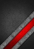 Template of gray and red velvet and texture with ornate floral seamless and diagonal silver floral band poster