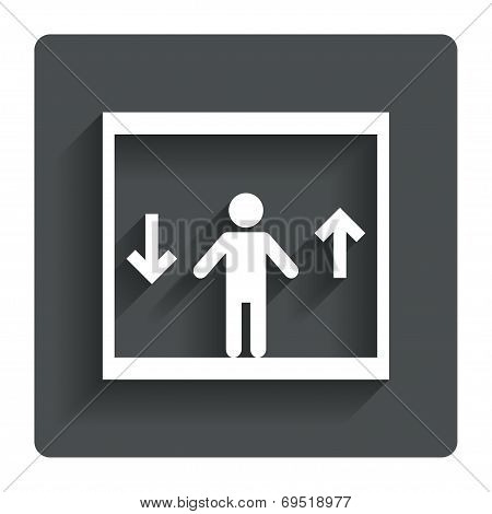 Elevator sign icon. Person symbol with up and down arrows. Gray flat button with shadow. Modern UI website navigation. Vector poster