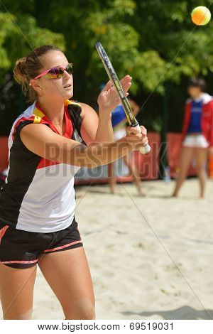 MOSCOW, RUSSIA - JULY 19, 2014: Dorothee Berreth of Germany in the match against Lithuania during ITF Beach Tennis World Team Championship. Germany won 3-0