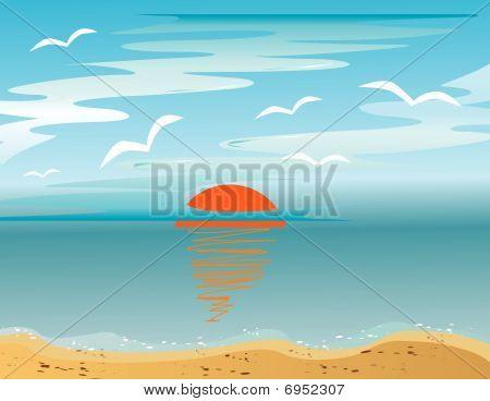 Sunrise and sea gulls over the sea