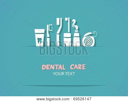 Background with dental care symbols