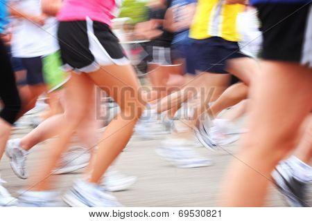 Marathon race motion blur