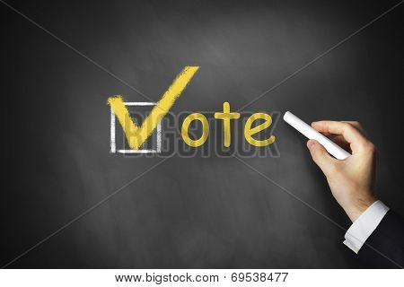 Hand Writing Vote Checkbox On Chalkboard