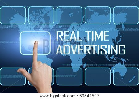Real Time Advertising concept with interface and world map on blue background poster