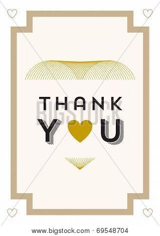 Thank you Card Gold Heart Theme
