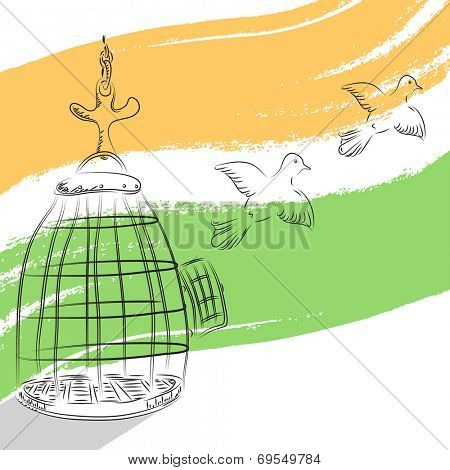 Pigeons coming out from cage, freedom symbol on national tricolors background for 15th of August, Indian Independence Day celebrations. poster