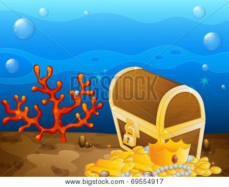 Illustration of an underwater treasure