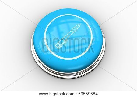 Fountain pen graphic on blue button on white background poster