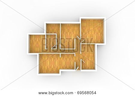 floorplan with wooden floor and empty spaces from above