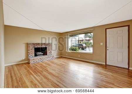 Empty House Interior. Living Room With Fireplace
