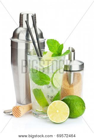 Fresh mojito cocktail and bar utensils. Isolated on white background