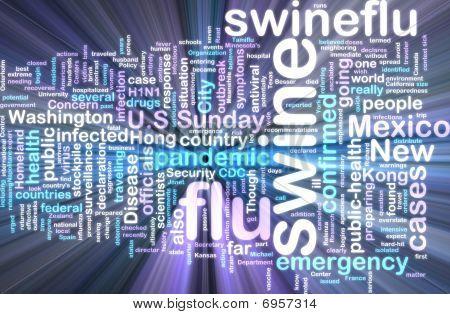 Swine Flu Wordcloud Glowing