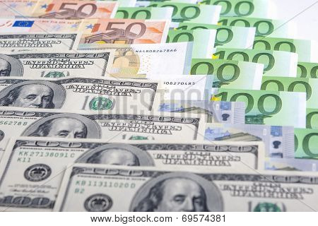 Currency Concept: Closeup Of European And The Us Hard Currencies