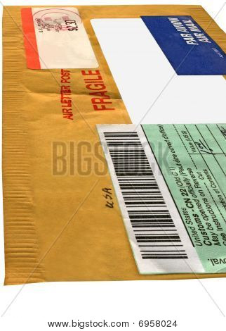 american Yellow Mail Package (envelope, Cn22 Form), recycled Paper, Isolated On White