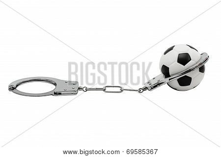 Soccerball In Handcuffs Isolated On White