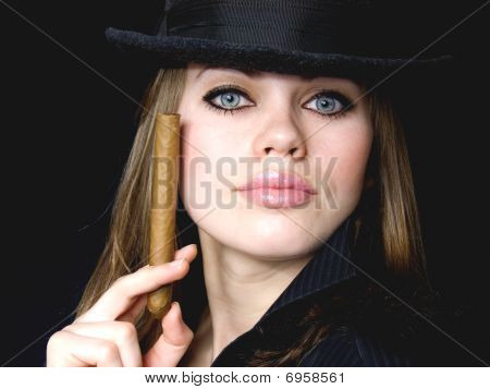 Graceful Lady And Cigar