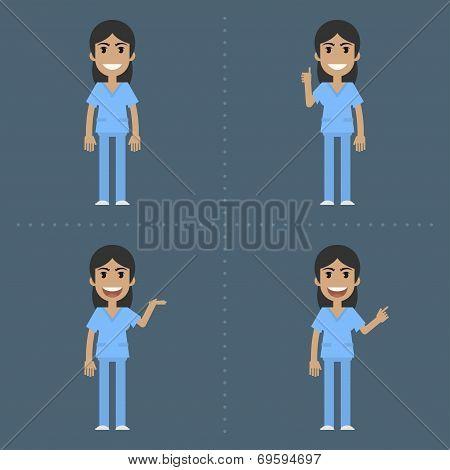 Nurse indicates in various poses