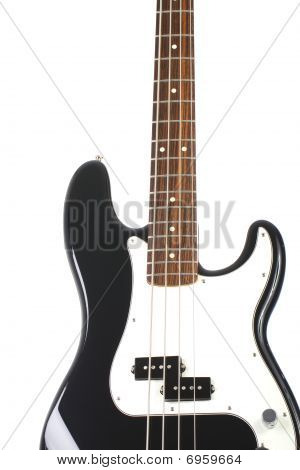 Beautiful Black And White Precision Bass Guitar Isolated On White Background