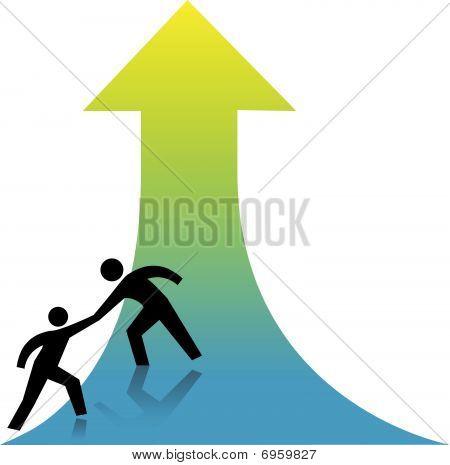 helfen Sie Aufwärtspfeil helfende Hand erhalten Menschen