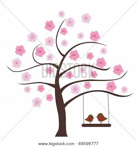 vector birds swinging in the floral tree poster