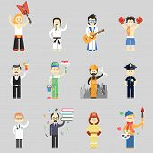 Set of vector characters in different professions including martial arts  musicians  waiter  painter  construction worker  policeman  doctor  professor  fireman and artist poster